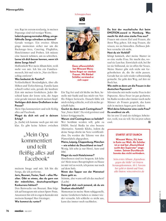 Wincent Weiss über starke Frauen im Interview mit Bärbel Schäfer